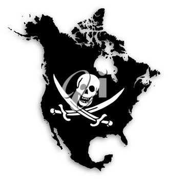 Map of North America filled with a pirate flag, isolated