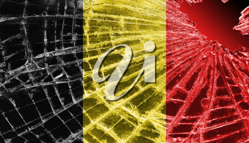 Broken ice or glass with a flag pattern, isolated, Belgium