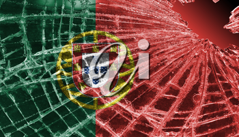 Broken ice or glass with a flag pattern, isolated, Portugal