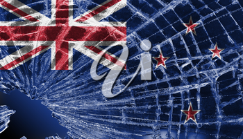 Isolated broken glass or ice with a flag, New Zealand