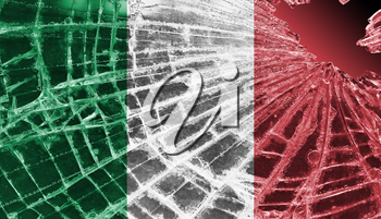 Isolated broken glass or ice with a flag, Italy