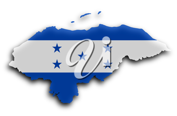 Country shape outlined and filled with the flag, Honduras