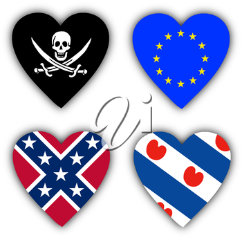 Flags in the shape of a heart, 4 different symbolic flags