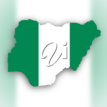 Nigeria map with the flag inside, isolated on white