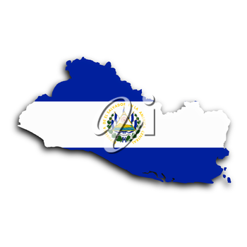 Map of El Salvador filled with the national flag