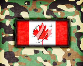 Amy camouflage uniform with flag on it, Canada