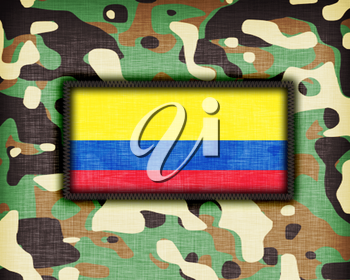 Amy camouflage uniform with flag on it, Colombia