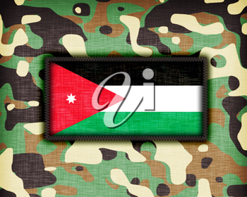 Amy camouflage uniform with flag on it, Jordan