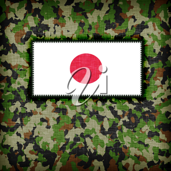 Amy camouflage uniform with flag on it, Japan