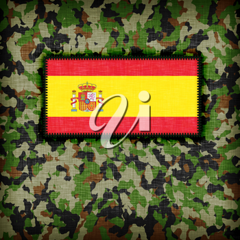 Amy camouflage uniform with flag on it, Spain