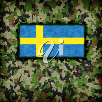 Amy camouflage uniform with flag on it, Sweden