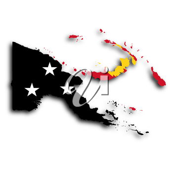 Map of Papua New Guinea filled with the national flag