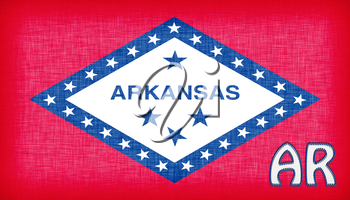 Linen flag of the US state of Arkansas with it's abbreviation stitched on it