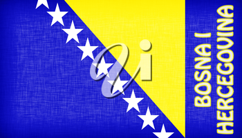 Flag of Bosnia and Herzegovina stitched with letters, isolated