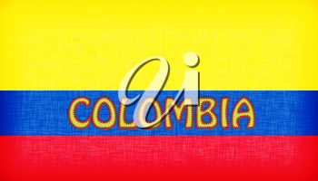 Flag of Colombia stitched with letters, isolated