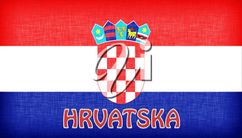 Linen flag of Croatia with letters stitched on it