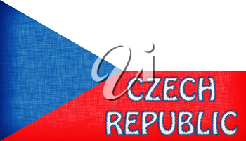 Flag of the Czech Republic stitched with letters, isolated