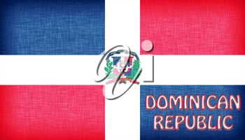 Linen flag of the Dominican Republic with letters stitched on it