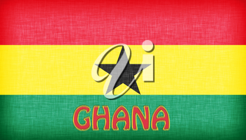 Linen flag of Ghana with letters stitched on it