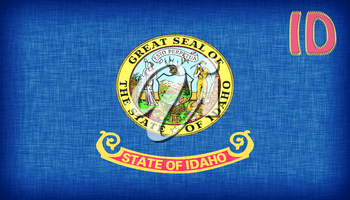 Linen flag of the US state of Idaho with it's abbreviation stitched on it