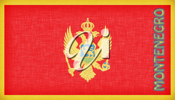 Linen flag of Montenegro with letters stiched on it