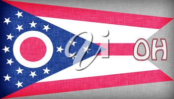Linen flag of the US state of Ohio with it's abbreviation stitched on it