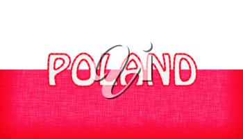 Flag of Poland stitched with letters, isolated