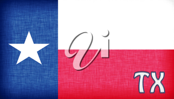 Linen flag of the US state of Texas with it's abbreviation stitched on it