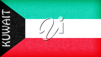 Flag of Kuwait stitched with letters, isolated
