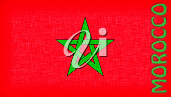 Flag of Morocco with letters stiched on it