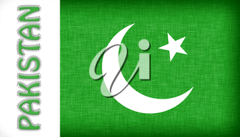 Flag of Pakistan with letters stiched on it