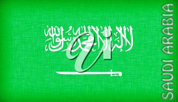 Flag of Saudi Arabia stitched with letters, isolated
