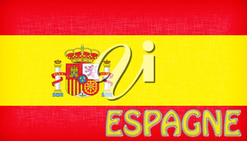 Flag of Spain with letters stiched on it