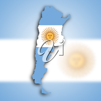 Map of Argentina filled with the national flag