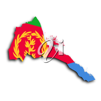 Map of Eritrea filled with the national flag