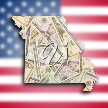 Map of Missouri, filled with a dollar background