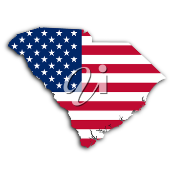 Map of South Carolina, filled with the national flag