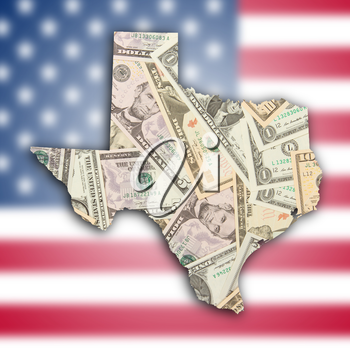 Map of Texas, filled with US dollars