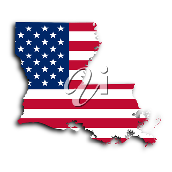 Map of Louisiana, filled with the national flag