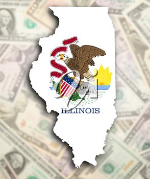 Map of Illinois, filled with the state flag