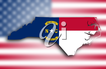 Map of North Carolina, filled with the state flag