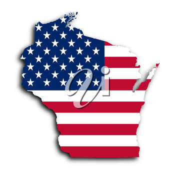 Map of Wisconsin, filled with the national flag
