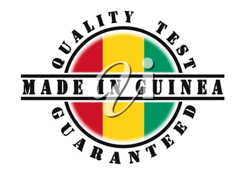 Quality test guaranteed stamp with a national flag inside, Guinea