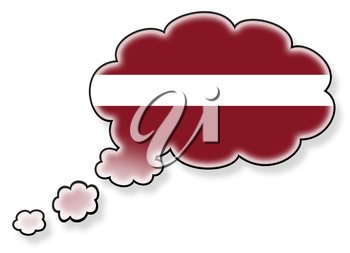 Flag in the cloud, isolated on white background, flag of Latvia