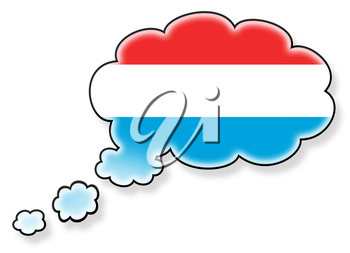 Flag in the cloud, isolated on white background, flag of Luxembourg