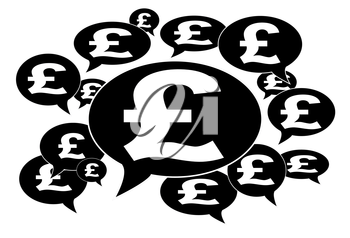 Communication and business concept - Speech cloud, british pound signs