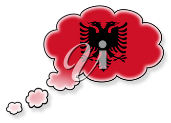 Flag in the cloud, isolated on white background, flag of Albania