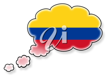 Flag in the cloud, isolated on white background, flag of Colombia