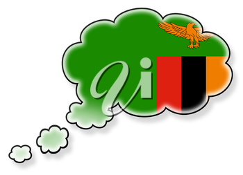 Flag in the cloud, isolated on white background, flag of Zambia