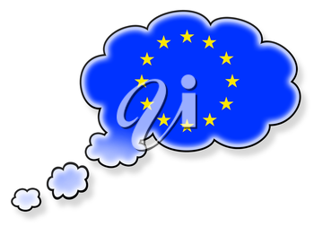 Flag in the cloud, isolated on white background, flag of the European Union
